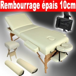 Table de massage Pliante 3 Zones, Tabouret, Rouleau + Housse