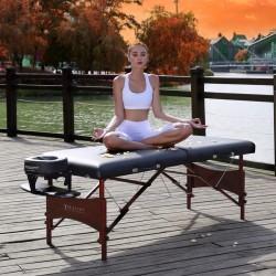 Master Massage Roma 71 cm Table de Massage Portable LX en noir et acajou